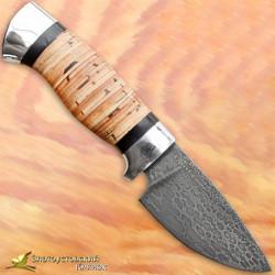 Нож из литого булата S005. Рукоять - береста, алюминий