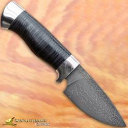 Нож из литого булата S005. Рукоять - кожа, алюминий