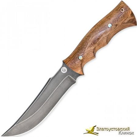 Нож из литого булата T001. Рукоять - стабилизирован. карельская береза