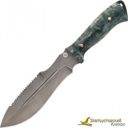 Нож из литого булата V001 - стаб. карельская берёза