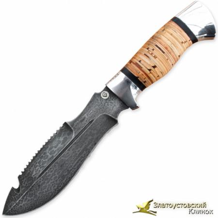 Нож из литого булата V001. Рукоять - береста, алюминий