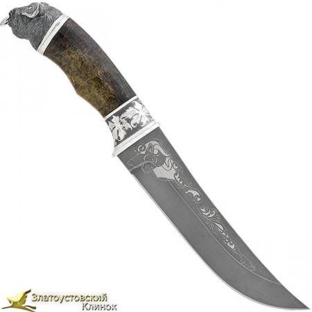 Нож-великан из литого булата  V005U украшенный, с головой буйвола