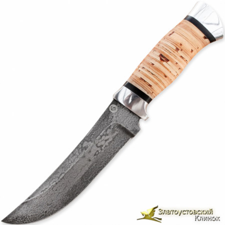 Нож из литого булата V005. Рукоять - береста, алюминий