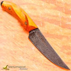 Нож из литого булата Брелок. Рукоять - червонное дерево