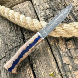 Нож из литого булата Малыш. Рукоять - гибрид карельской берёзы