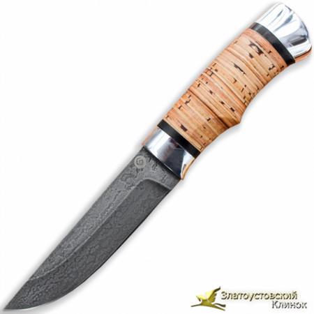 Нож из литого булата Степчак - большой. Рукоять - береста, алюминий