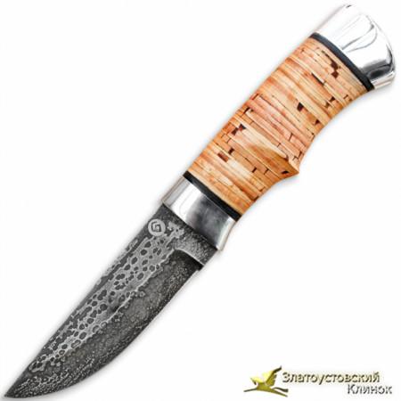 Нож из литого булата Степчак - малый. Рукоять - береста, алюминий