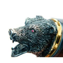 Нож-великан из литого булата  V005U украшенный, с головой медведя