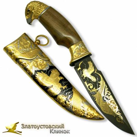 Нож украшенный из литого булата - Сокол