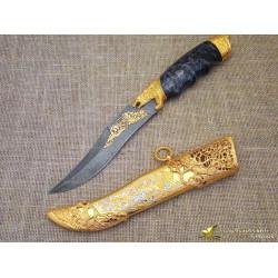 Нож украшенный Волк. Рукоять - кап. Сталь - дамаск