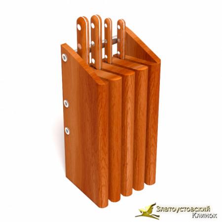 Подставка для 4 ножей - бук