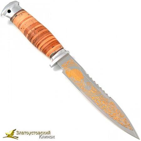 Нож  Спас-4. Рукоять береста, алюминий