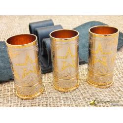 Набор стопок с золотым ободком и декором (3 шт.)