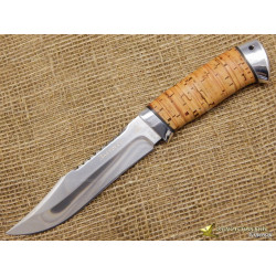 Нож Акела. Рукоять - береста, алюминий
