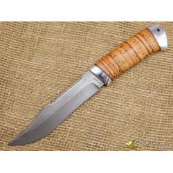 Нож Акела. Рукоять - береста, алюминий. Сталь ZDI-1016