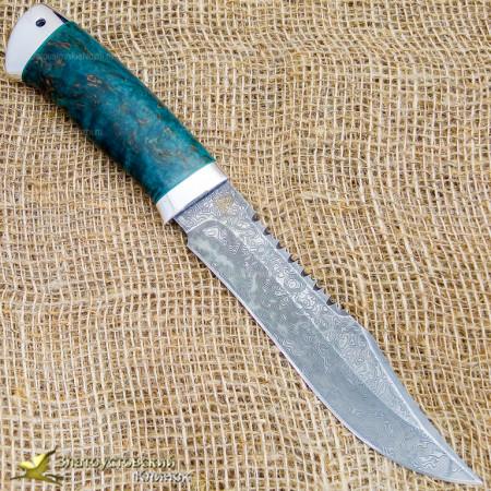 Нож Акела. Рукоять - стаб. карельская берёза, алюминий. Сталь ZDI-1016