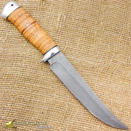 Нож Бивень. Рукоять - береста, алюминий. Сталь ZDI-1016