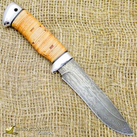 Нож из булата Дуплет-2. Рукоять - береста, алюминий
