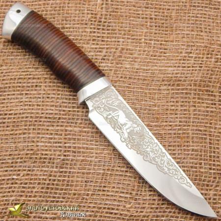 Нож Фартовый. Рукоять - кожа, алюминий
