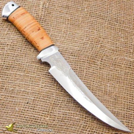 Нож Гюрза. Рукоять - береста, алюминий