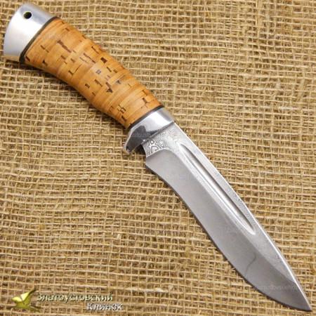 Нож Кондор-2. Рукоять - береста, алюминий. Сталь ZDI-1016