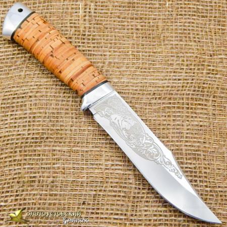 Нож Койот. Рукоять - береста, алюминий