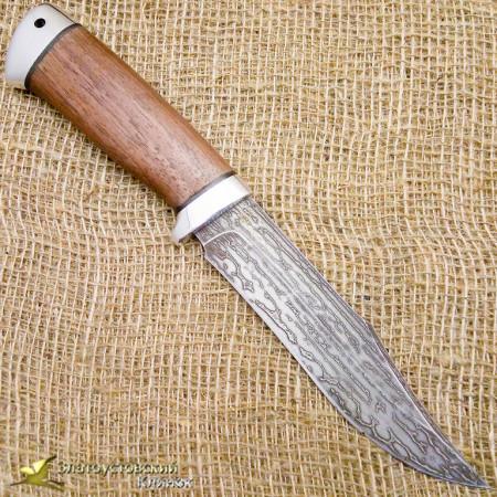 Нож булатный Койот. Рукоять - орех, алюминий