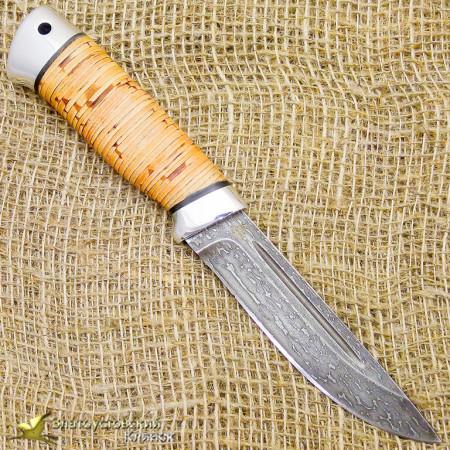 Нож из булата Куница-2. Рукоять - береста, алюминий
