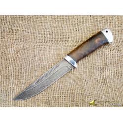 Нож булатный Куница. Рукоять - орех, алюминий