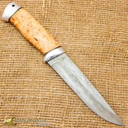 Нож Куница. Рукоять - карельская берёза, алюминий. Сталь ZDI-1016