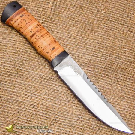 Нож Перо. Рукоять - береста, текстолит