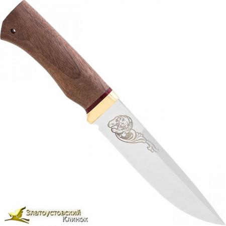 Нож Перо. Рукоять: орех, латунь