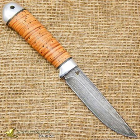 Нож булатный Пустельга-2. Рукоять - береста, алюминий