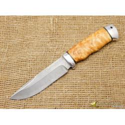 Нож Путный. Рукоять - карельская берёза, алюминий. Сталь ZDI-1016