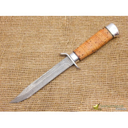 Нож Разведчика. Рукоять - береста, алюминий. Сталь ZDI-1016