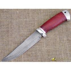 Нож булатный Сайга. Рукоять - стаб. бук, алюминий