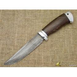 Нож булатный Сайга. Рукоять - стабилизированный бук, алюминий