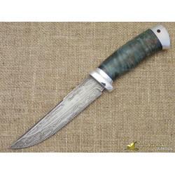 Нож булатный Сайга. Рукоять - стаб. карельская берёза, алюминий