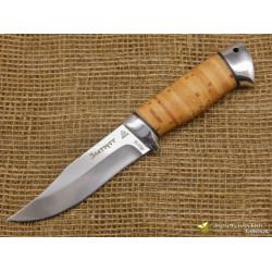 Нож Таёжный малый. Рукоять - береста, алюминий