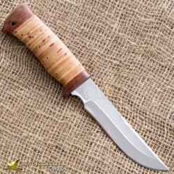 Нож туристический НС-17. Рукоять наборная береста, тыльник и гарда текстолит