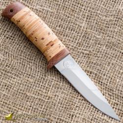 Нож туристический НС-18. Рукоять - наборная береста, тыльник и гарда текстолит