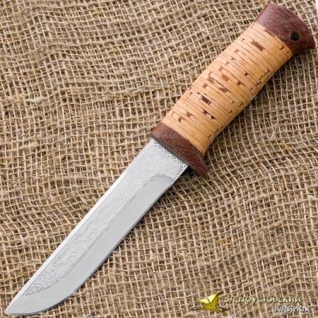 Нож туристический НС-41. Рукоять наборная береста, тыльник и гарда текстолит