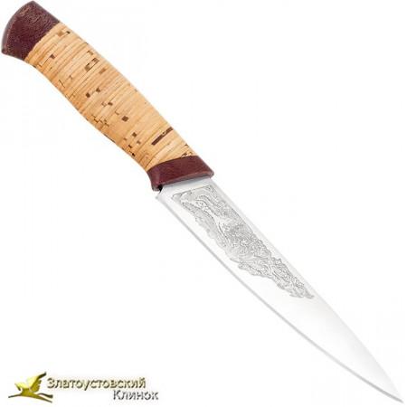 Кухонный нож Империя-3. Рукоять береста, текстолит