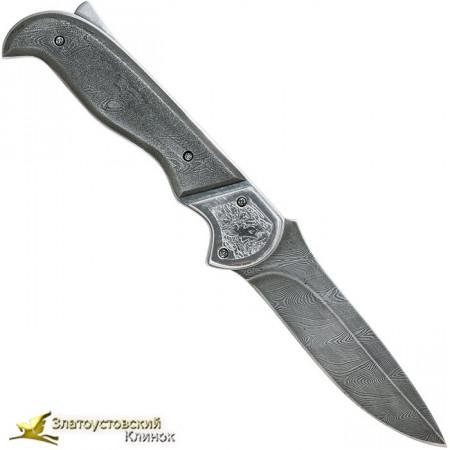 Нож складной Рысь. Рукоять - накладки из дамаска