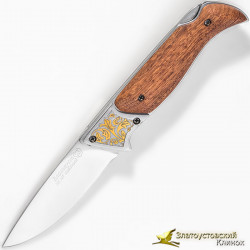 Нож складной Тундра с позолотой. Рукоять - орех