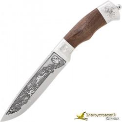 Нож Пума-2. Рукоять орех с символикой