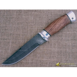 Нож из дамаска Н8. Рукоять - орех, алюминий
