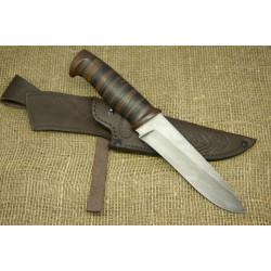 Нож Н1 - Сталь атмосферостойкий дамаск, рукоять кожа, текстолит