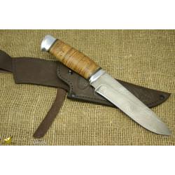 Нож Н1 - Сталь атмосферостойкий дамаск, рукоять береста, алюминий