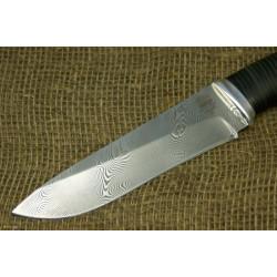 Нож Н1 - Сталь контрастный дамаск, рукоять кожа, дюраль